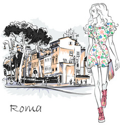 cute fashion girl in rome italy vector image