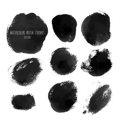 dark black grunge watercolor ink texture set vector image