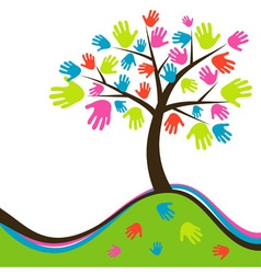 Decorative abstract hand tree vector image