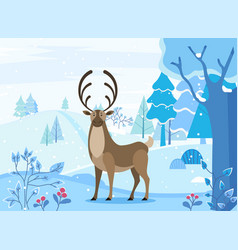 Deer walking in snowy forest arctic land vector
