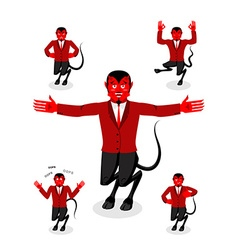 Devil set of poses Satan set of movements Horned vector image