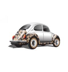Digital colored retro realistic car vector image
