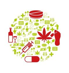 Drug icons in circle vector