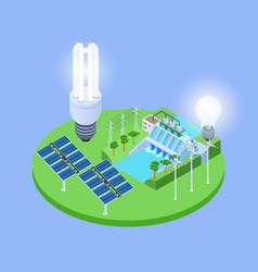 ecological energy isometric with solar vector image