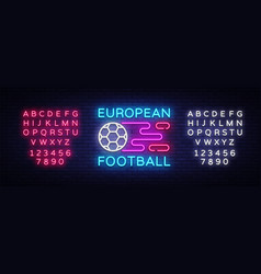 european football neon sign soccer logo vector image