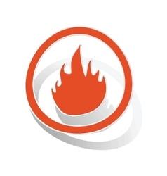 Fire sign sticker orange vector image