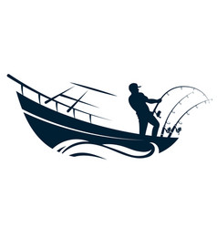 Fisherman in boat with fishing rods vector