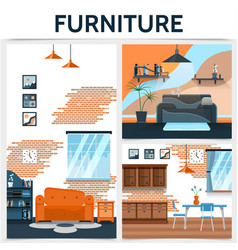 flat home interior concept vector image