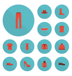 Flat icons heeled shoe gumshoes pants and other vector