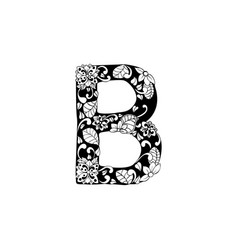 floral letter for laser cutting or coloring book vector image