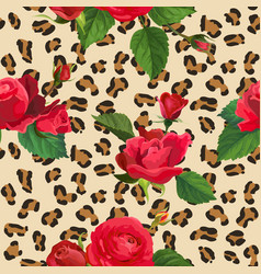 flowers and leopard skin seamless pattern vector image