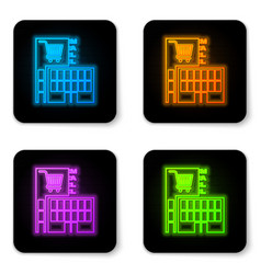 glowing neon mall or supermarket building with vector image