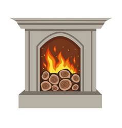 Gray burning fireplace isolated on a white vector