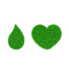 green grass 3d set grass heart love land vector image
