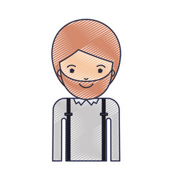 Half body man with suspenders and beard in colored vector