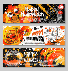 halloween sketch banners trick or treat vector image