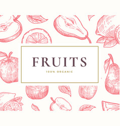 hand drawn fruits card abstract vector image
