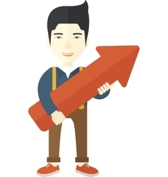 Happy chinese guy holding arrow up sign vector image