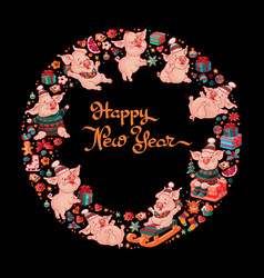happy new year funny pigs toys vector image