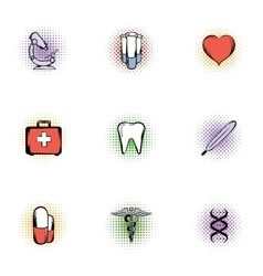 Healing icons set pop-art style vector image
