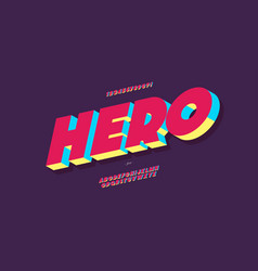 Hero font 3d bold colorful style vector
