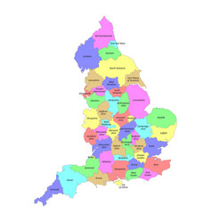 high quality colorful labeled map england with vector image