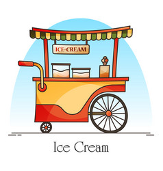 ice cream cart or wagon kiosk for ice-cream vector image