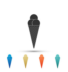 ice cream in waffle cone icon on white background vector image