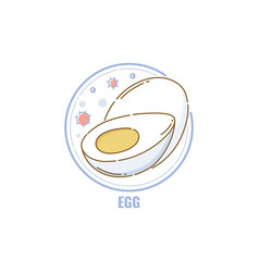 icon whole and half eggs in circle flat linear vector image