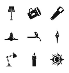 illumination source icon set simple style vector image