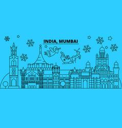 india mumbai winter holidays skyline merry vector image
