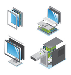 isometric modern devices and gadgets set vector image