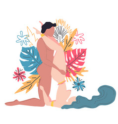 Kama sutra a man and a woman have sex the art of vector