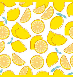 Lemon seamless pattern tropical citrus exotic vector