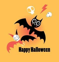 Little funny bats for Halloween on an orange vector