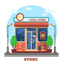 Local shop or store building outdoor exterior vector image