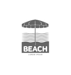 Logo template with beach umbrella standing against vector