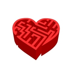 Maze of love red labyrinth on white vector