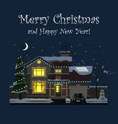 Merry christmas and happy new year family house vector