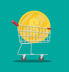 metal supermarket cart with big golden coin vector image