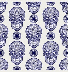 mexican skull and diamonds seamless pattern vector image
