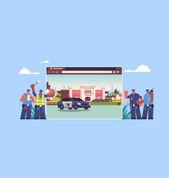 mix race policemen near digital city police vector image