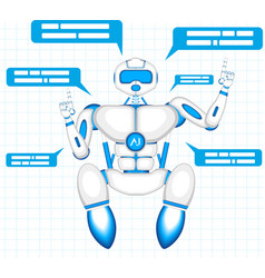 Modern robot isolated on blue background vector