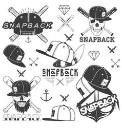 Monochrome set of snapback badges emblems vector