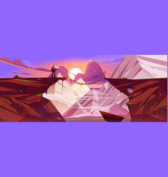 Mountain landscape at sunset with hiker and bridge vector