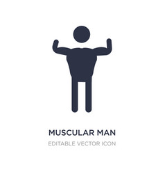 Muscular man showing his muscles icon on white vector