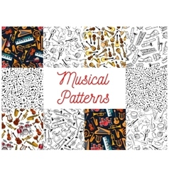 Musical instruments and notes pattern backgrounds vector