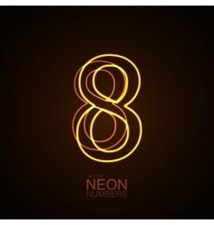 Neon 3D number 8 vector