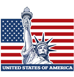 new york city and statue of liberty usa flag vector image