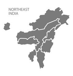 Northeast india gray region map vector